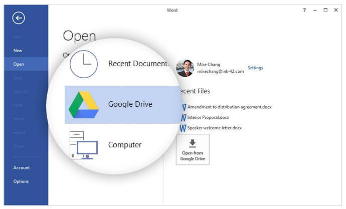 Google drive plugin voor Office